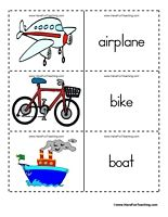 Transportation Flash Cards - Word List: Airplane, Bike, Boat, Bus, Cable Car, Camper, Car, Bulldozer, Helicopter, Horse, Hot Air Balloon, Motocycle, Space Shuttle, Subway, Tractor, Train, Truck, Fire Truck, Monster Truck, Semi Truck, Van.