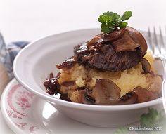 Braised beef cheeks with mushroom & polenta.