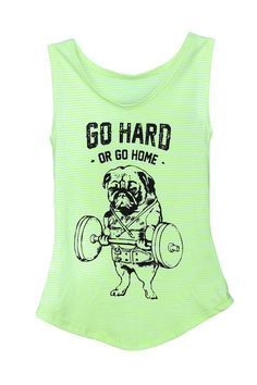 Go Hard or Go Home Tank top, Pug Tank, Workout Clothing, Gym Tank Top. size S