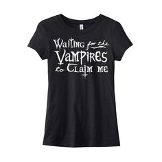 Vampire T-Shirt Waiting for the Vampires Gothic Lolita Pastel Goth... ($20) ❤ liked on Polyvore featuring tops, t-shirts, shirts, henley shirt, gothic shirts, cotton t shirt, screen print shirts and graphic tees