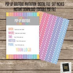 Pop-Up Boutique Party Invitation PDF editable file! 5x7 invitation- Heringbone pattern- For Fashion Consultants by okprintables, $5.00 EUR