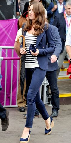 Kate Middleton; navy J Brand skinnies paired with a nautical Smythe blazer