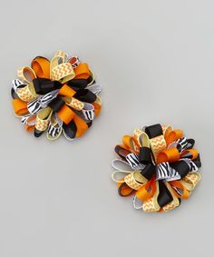 Look at this Black Zebra & Orange Puff Clips on #zulily today!