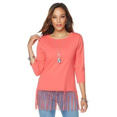 DG2 by Diane Gilman Knit Cotton Fringe Hem Top