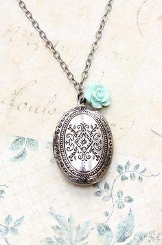 Oval Locket Necklace Antique Silver Aqua Blue by apocketofposies