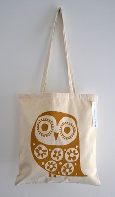 Owl Tote Bag, Hand Screen Printed Retro Owl Design in Mustard. $15.00, via Etsy.