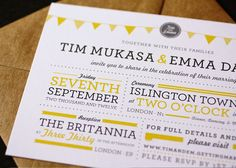 Grey Yellow Wedding Invitations - Phil would probably like this - not sure if it is too different for me!
