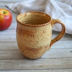 Image of Extra Large Rustic Pottery Mug in Gold Shino Glaze Made in USA