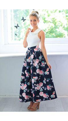 Martina Maxi Skirt in Navy Floral