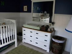navy and white with beadboard ... might make the room too dark though