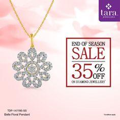 A stunning diamond studded gold pendant from the Fleur collection.  http://bit.ly/2slChjm #TaraJewellers #Diamondjewellery #Certfieddiamonds #BIShallmarkedjewellery