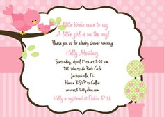 Bird Baby Shower Invitation - Customized and Printable. $15.00, via Etsy.