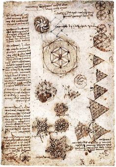 "Some of Leonardo Da Vinci's study notes and illustrations regarding the ""flower of life."""