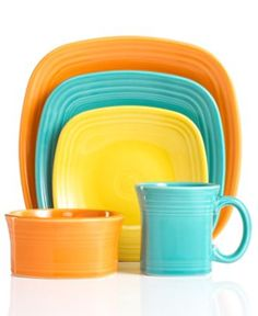 Fiesta Square Dinnerware Collection - Tangerine and Turquoise