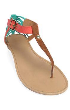 Deb Shops tri color t-strap #sandal with buckle