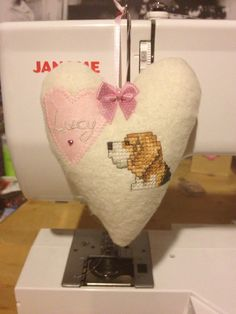 Beagle personalised hanging heart hand embroidered handmade