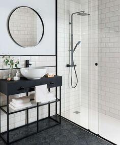 Metro white tile with black rim and hexagon floor tiles! Metro Tiles Bathroom, White Bathroom Tiles, Bathroom Tile Designs, Bathroom Interior Design, Modern Bathroom, Wall Tiles, Black And White Bathroom Ideas, Black Bathrooms, Mirror Bathroom