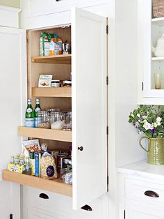 Put a pantry at eye-level with pullout drawers to make mealtime easy. Pullout shelves help to see items at the back of the pantry, so nothing ever gets lost.