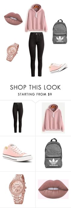 """#school #outfit"" by ivaila02 ❤ liked on Polyvore featuring H&M, Converse and adidas"