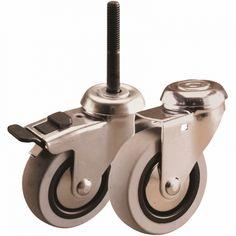 Bolt Hole Castors - Light Duties - Non-Marking Wheels - Grey Plain Bore M10 With Brake - 40kg - 50mm - EHi   GotStock