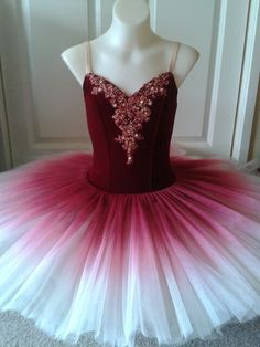Deep red velvet tutu with ombre shading on ivory skirt by Margaret Shore