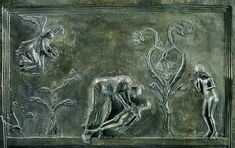 God in the person of Jesus creates Adam and Eve In the center God awakes Adam, to the right stands the just created Eve.  Hildesheim, Dom (cathedral) - Bernwardstür Left wing of the bronze door of Bernward with scenes from the Genesis (history of creation, Old Testament) from 1015 CE Panel 1 of 8 – Christ awakes Adam // Adam after the creation, detail  Photographer Frank Tomio  Copyright Bildarchiv Marburg Source bildindex.de