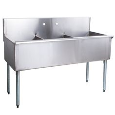 Regency 66 1 2 Inch 16 Gauge Stainless Steel Three Compartment