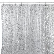 """$15 Pebbles Silver 72"""" x 72"""" Vinyl Shower Curtain - I use this as a shower liner underneath my waffle weave shower curtain.  Taking showers are now more interesting and it doesn't hold mildew like the other shower liners."""