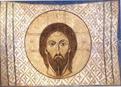 Св. Мандилион Фреска собора Спаса Преображения Мирожского монастыря во Пскове ок. 1140