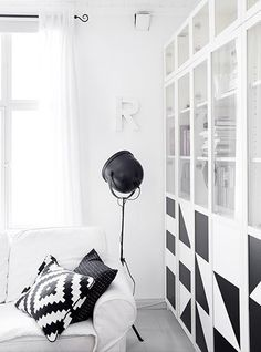 BILLY / OXBERG Bookcase, white, It is estimated that every five seconds, one BILLY bookcase is sold somewhere in the world. Living Room White, Cozy Living Rooms, Home And Living, Living Area, Black And White Interior, White Interior Design, Black White, Monochrome Interior, Billy Oxberg