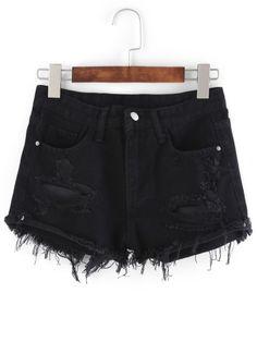 Shorts denim raído -negro-Spanish SheIn(Sheinside) Sitio Móvil