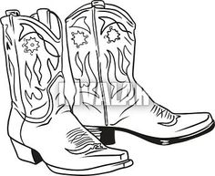free cowboy boot outline clip art western theme cowboy boots b rh pinterest com cowboy boot silhouette clip art cowboy boot clip art black and white