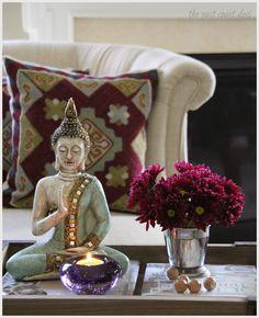Decorating Creatively Use a mortar from the kitchen to display a few stems ◦●◦ ჱ ܓ ჱ ᴀ ρᴇᴀcᴇғυʟ ρᴀʀᴀᴅısᴇ ჱ ܓ ჱ ✿⊱╮ ♡ ❊ ** Buona giornata ** ❊ ~ ❤✿❤ ♫ ♥ X ღɱɧღ ❤ ~ Fr Feb 2015 Ethnic Home Decor, Indian Home Decor, Buddha Home Decor, Zen Home Decor, Bunch Of Red Roses, Living Room Decor, Bedroom Decor, Eclectic Modern, Asian Decor