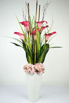 Deep Pink Cala Lillies /large banana leaves, bamboo and birch branches