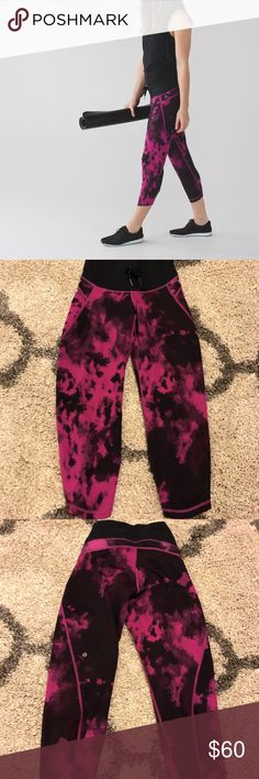 Lululemon Shake It Out Crop Size 4. Blooming Pixie Raspberry Black. In excellent condition. lululemon athletica Pants Leggings