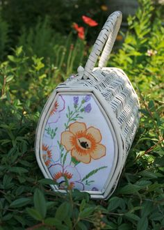Linen and wicker, the perfect vintage summer handbag. $35 at Fairbanks fancy Goods on Etsy