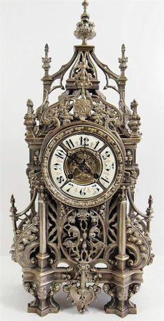 Antique clocks -19th c French solid pierced silvered bronze gothic mantel clock | eBay