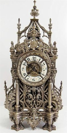 Antique Clocks -19th C French Solid Pierced Silvered Bronze Gothic Mantel Clock