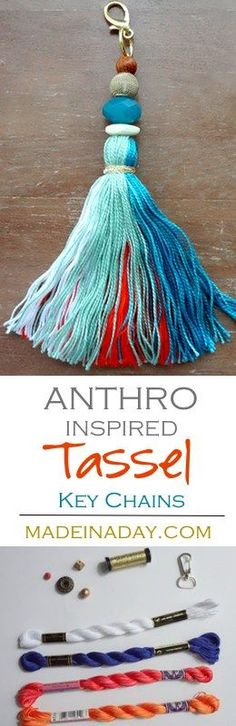 How to make large tassel key chains to hang on your purse, keys or home decor. Anthro hack easy craft, key fob, via @thelovelymrsp