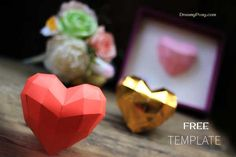 How to make paper 3D heart, free template - DreamyPosy.com