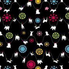 dogs hanging 'dry' - black fabric by lil_creatures on Spoonflower - custom fabric
