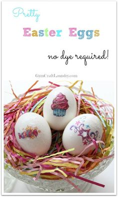 Easy No Dye Easter Egg Idea. Make pretty and unique Easter eggs in under five minutes using temporary tattoos and glitter glue.