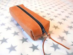 Handmade Vegetable Tanned Leather Pencil case with zipper