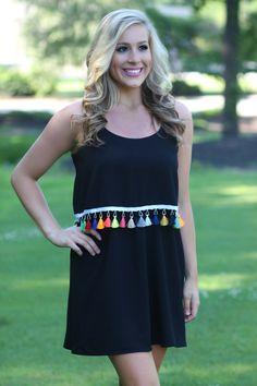 Lavish Boutique  - Tassel Around Dress: Black , $44.00 (http://lavishboutique.com/tassel-around-dress-black/)