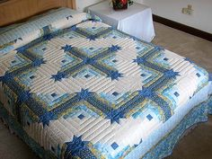 king size log cabin star quilt pattern | Blue and Yellow Colorado Log Cabin Quilt