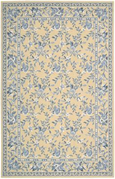 Nourison Traditional French Country Blue and Yellow Floral Rug - Nourison | Rugs by SelectRugs.com