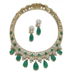 """""""'Amalia' - belonging to Queen Amalia of Greece, Princess of Oldenburg (1818-1875) - emerald and diamond necklace with a pair of ear clips by Van Cleef & Arpels. The collar set with 2 rows of brilliant cut diamonds deocrated with cabochon emeralds and diamond set florets, suspending at the front pear shaped emeralds cut en cabochon and similarly shaped diamonds together with a pair of pendant earrings en suite, signed Van Cleef & Arpels."""" Hmmm--VC & A was founded 1896, and  Amalia died in…"""