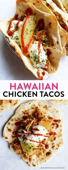 Hawaiian chicken tacos recipe. Crockpot pulled chicken, pineapple, soy sauce with a homemade flour tortilla. Perfect dinner recipe for busy families.