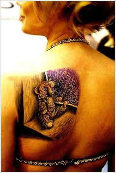 Tatouage ourson en peluche pour fille