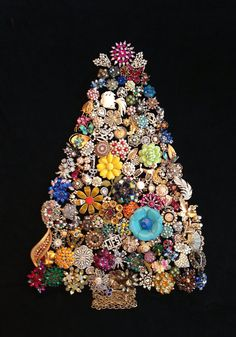 Vintage Jewelry Christmas Tree - You're buying a PHOTO of the jeweled tree - Etsy $25